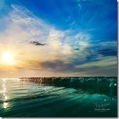 Beautiful sunset at the sea at south summer coast and colorful green blue wave line