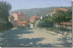 Oil landscape street in Obzor with horse and trees