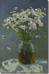 Oil still life painting of Camomile flowers