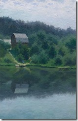 Oil landscape painting of riverside with wooden house and trees