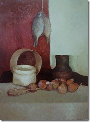 Oil still life painting with fish
