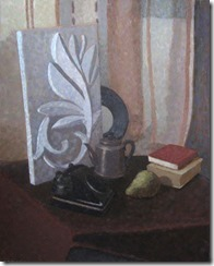 Oil still life painting of academic shool with phone and fruits